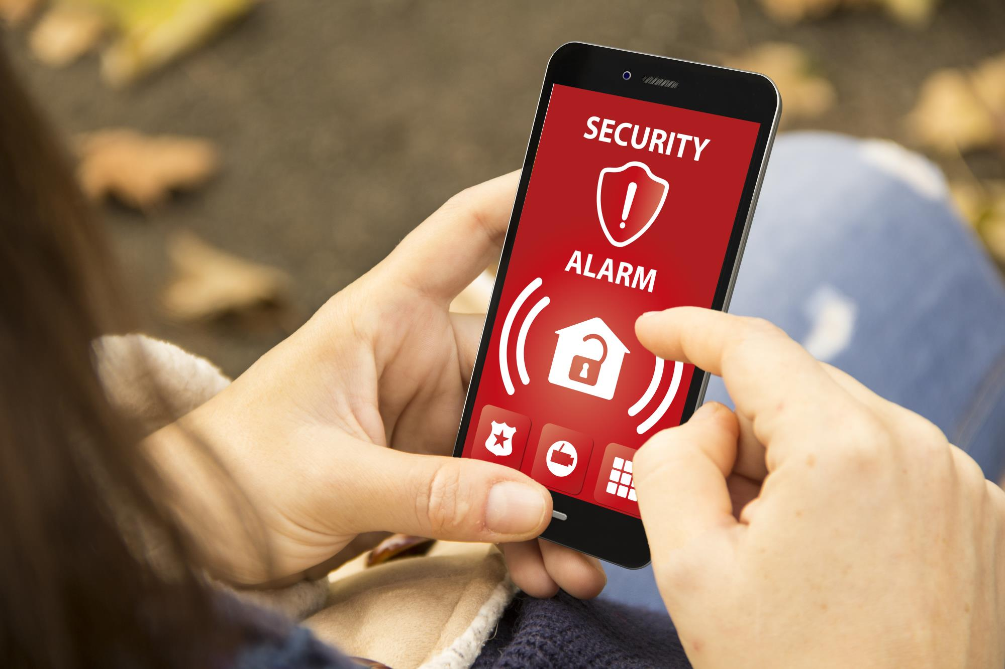stock photo of alarm alert on a smartphone